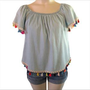 Speed Limit off shoulder tassel top size small